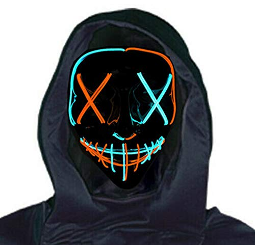 Beautsoful 2021 Halloween Light Up Mask LED Mask EL Wire Scary Mask for Halloween Festival Party ,Masquerade Cosplay Light Up Face Mask for Men Women Kids (Mult Blue & Orange)
