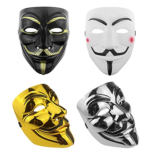 HUYIWEI 4 x Hacker Masks, V for Vendetta Mask, Halloween Mask, Anonymous Mask, Suitable for Halloween Cosplay, Carnival Party