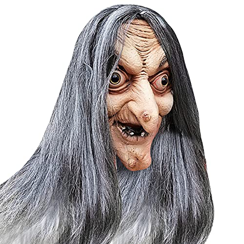 Halloween Witch Mask Room Escape Dress Up Head Fancy Dress Party Character Playing Props Old Woman Witch Mask
