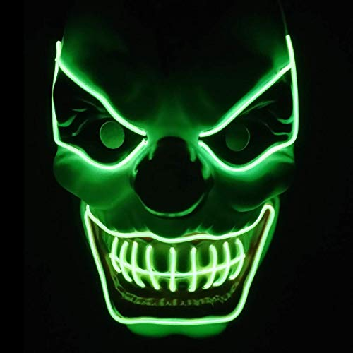 Ikakabek Halloween LED Mask Clown Creepy Mask Death Skull Mask with 3 Flash Modes, Horror Killer Flashing Mask Scary Decoration for Halloween Carnival Party Costume Cosplay (Green)