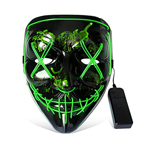 JUNEU LED Mask Costume Light up Mask Cosplay EL Wire Carnival Mask Costume for Halloween Christmas Festival Masquerade