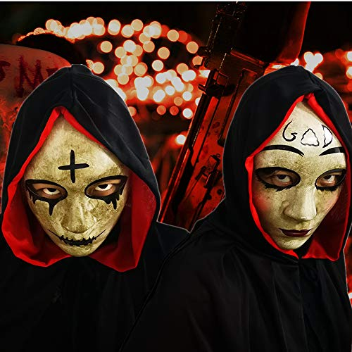 God & Cross Halloween Horror Killer Couple Masquerade Mask For Costume Party,The Purge Anarchy Movie,For Most Adults