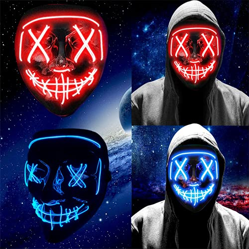 Zueyen 2psc Scary LED Halloween Mask, LED Light up Mask Cosplay, Glowing in The Dark Mask Costume 3 Lighting Modes, Masquerade Cosplay Light Up Face Mask for Men Women Kids- Blue and Red